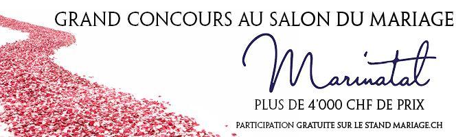 Les 23, 24 et 25 janvier 2015 a lieu le Salon du mariage Marinatal au Palais de Beaulieu à Lausanne. A cette occasion, Mariage.ch et MariNatal vous proposent un grand concours avec plus de CHF 4'000 de prix à gagner.